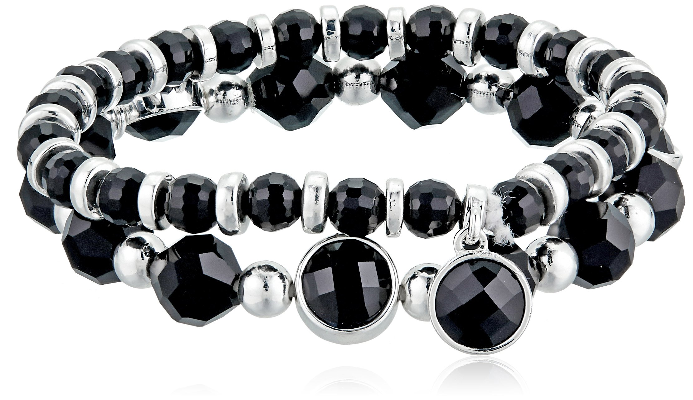 Nine West Silver-Tone and Jet Set of 2 Stretch Bracelet by Nine West (Image #1)