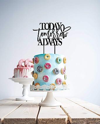 Hoy día mañana siempre boda tarta adorno oro rosa compromiso ...