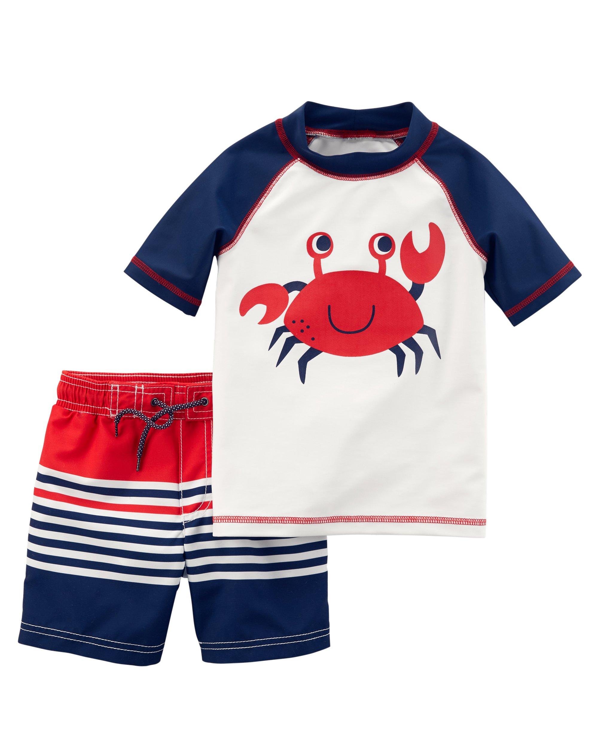 Carter's Boys' Toddler Rashguard Swim Set, Navy
