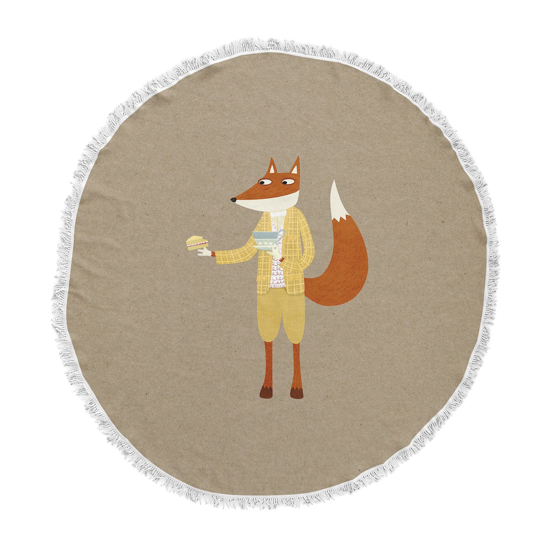 KESS InHouse Nic Squirrell Mr Fox Takes Tea Tan Animals Round Beach Towel Blanket