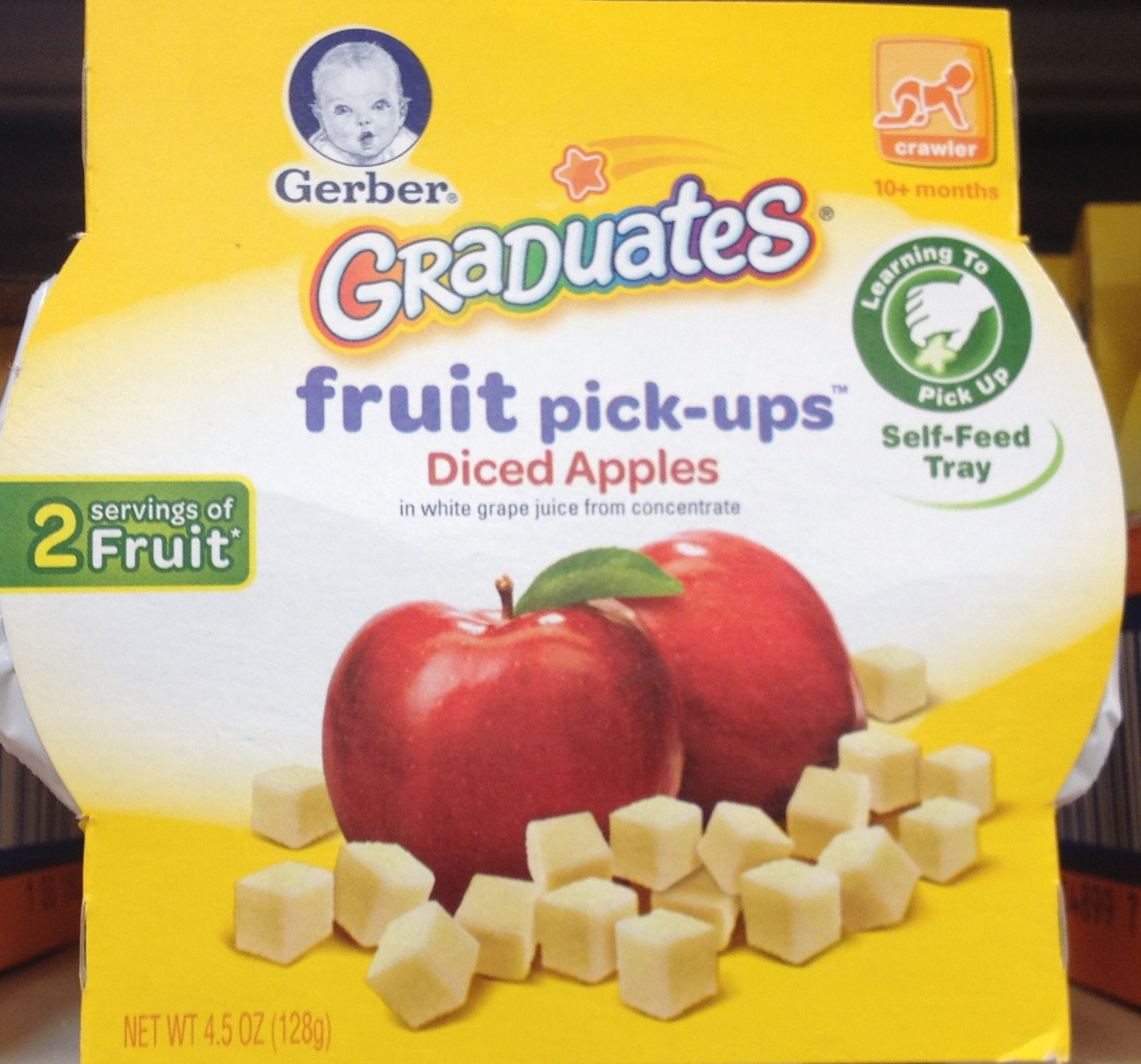 Gerber Graduates Fruit Pick-Ups DICED APPLES 4.5oz (Pack of 6)
