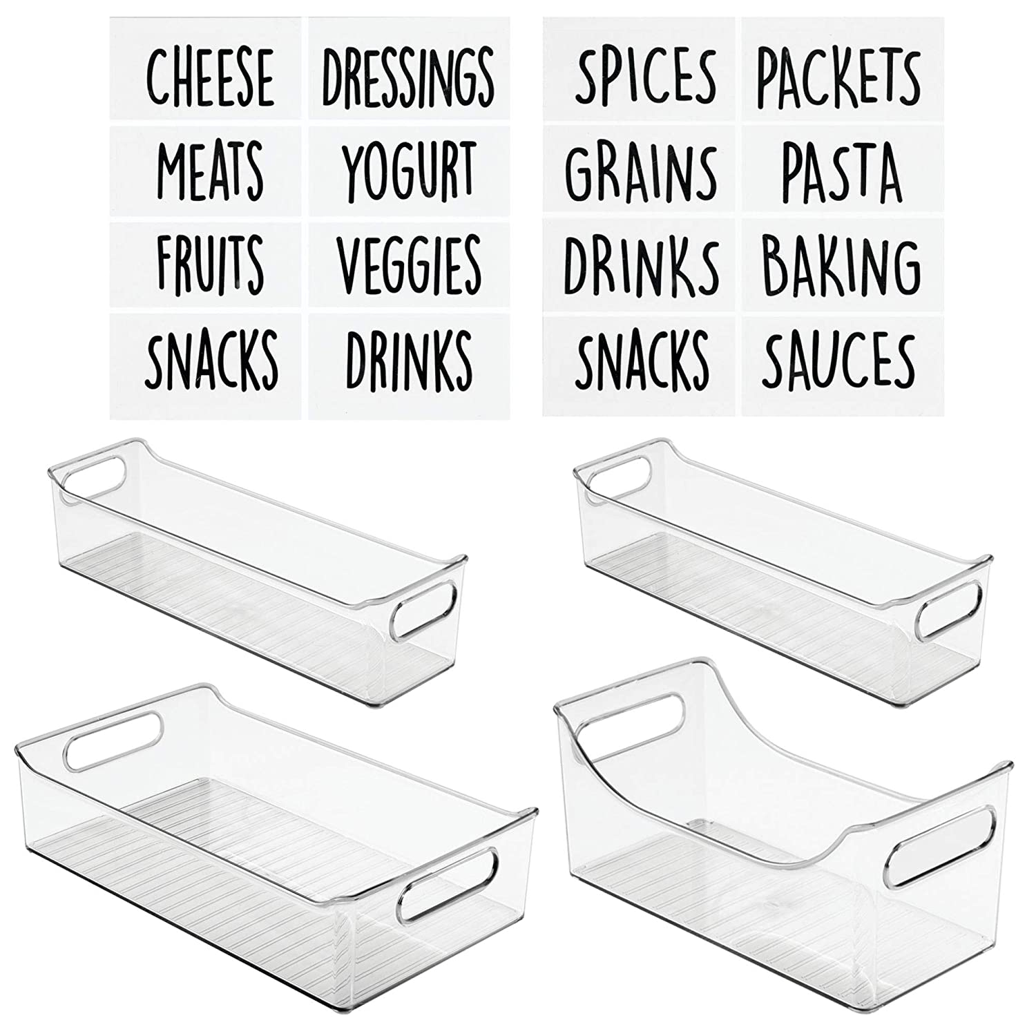 mDesign Kitchen Storage Organizer Bin Set with 16 Identification Labels, Trays with Built-In Handles - for Pantry, Cabinets, Shelves, Refrigerator - BPA Free - 3 Size Organizers, Set of 4 - Clear