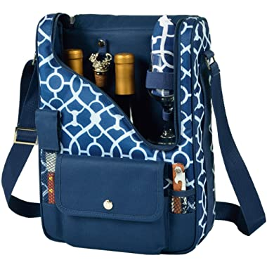 Picnic at Ascot - Wine Carrier Deluxe with Glass Wine Glasses and Accessories for Two, Trellis Blue