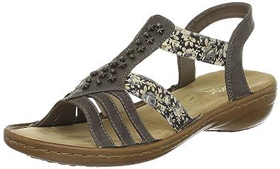 60e6e22115c1 Rieker Womens 60840-45 Sandals Gray Grau (smoke 45) Size  42  Amazon ...