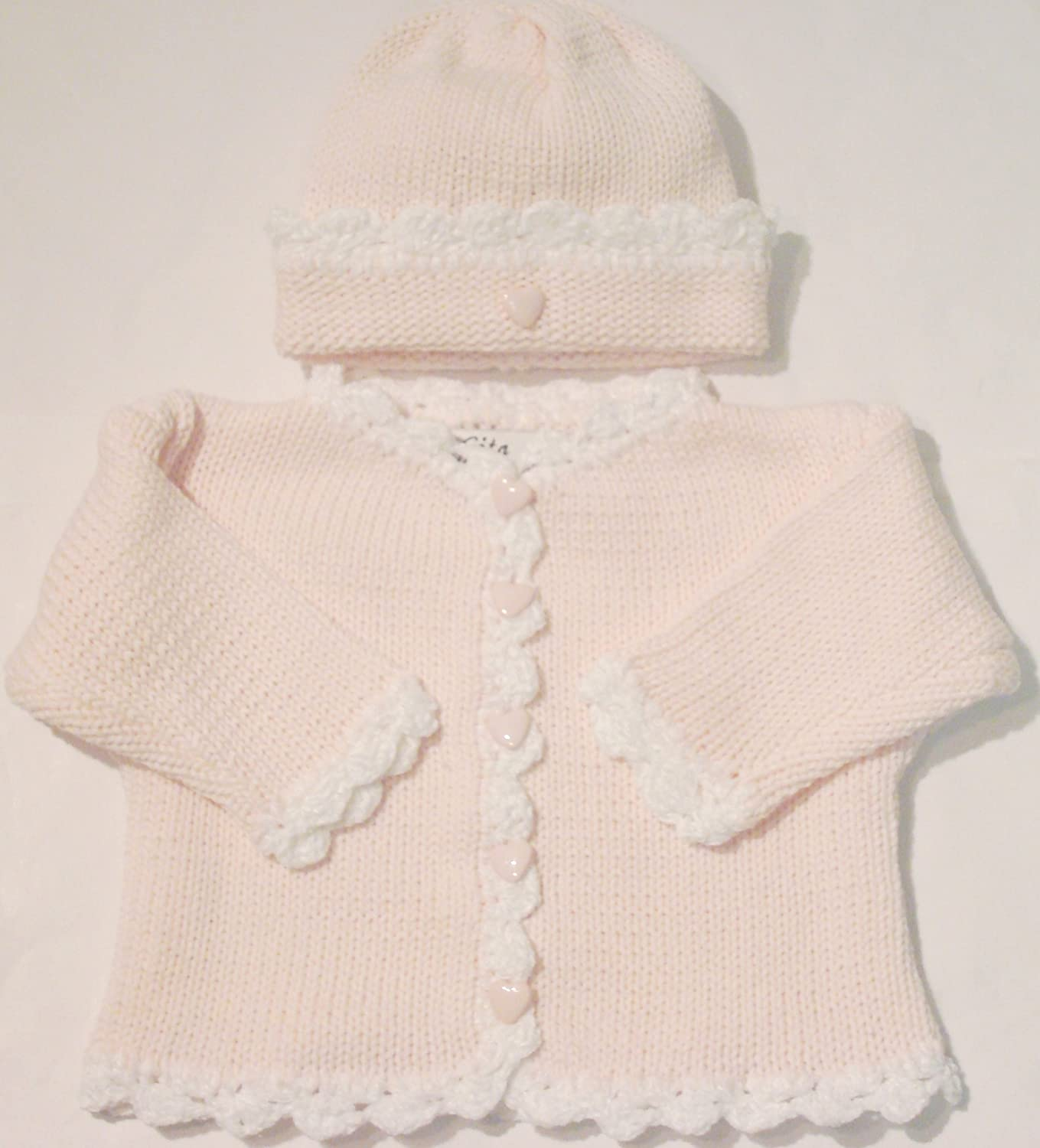 age 6-9 months pink cardigan set Girls Handknitted Cardigan with Matching Beanie