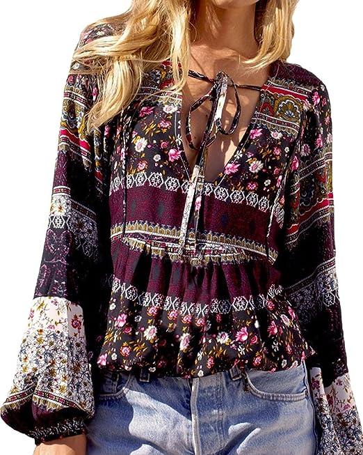 Maglietta Floreale Styledome Etnica Donna Camicetta Blusa Maglia yvN80wPmnO