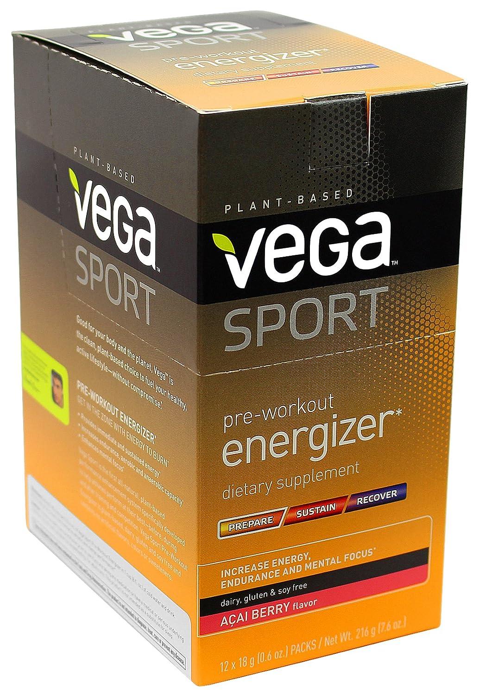 Vega Sport Pre-Workout Energizer Acai Berry (0 6oz, 12 Count) - Vegan,  Gluten Free, All Natural, Pre