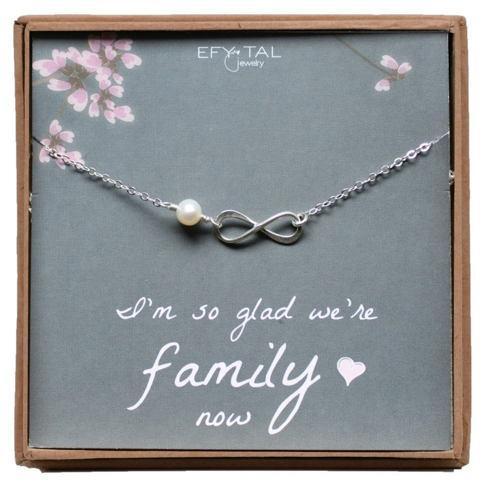 Mother, Sister, or Daughter in Law Necklace, Sterling Silver Infinity Wedding Jewelry Gift, Bridal Party