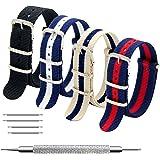 Cinturino Orologio 4 Pacchetti 18mm 20mm 22mm Balistico Cinturino Nato Cinturino in Nylon con Bar Primavera Link Pin Remover Strumento (20mm, Black+Linen Navy+Navy White+Navy Red)