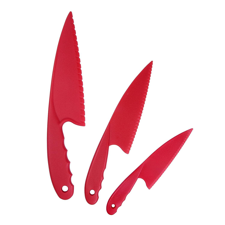 Garmills Plastik Küchenmesser Set 3-teilig Rot für Kinder, Sichere Nylon Küchenmesser für Kinder, für Kopfsalat Salate oder Kuchen Hynes Co Ltd