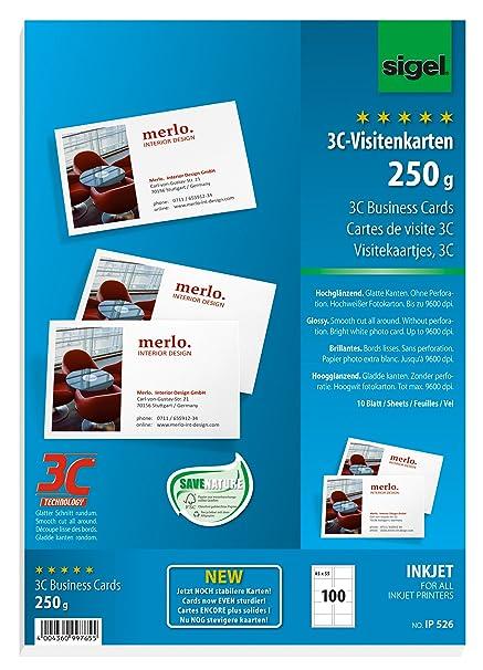 Sigel Ip526 Visitenkarten 3c Für Inkjet 100 Stück 10 Blatt Hochweiß Hochglänzend Glatter Schnitt 250 G 85x55 Mm