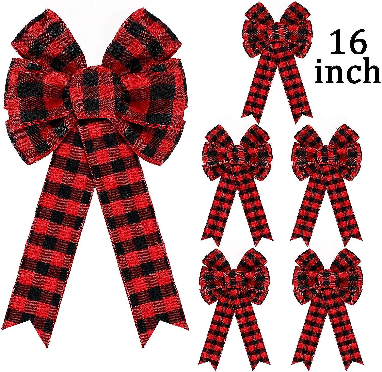 Wreath bow,Christmas buffalo check and tan bow,holiday bow,red and black buffalo check bow,Plaid bow with tan ribbon