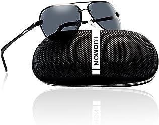 0a9e40f966 LUOMON Men s Polarized Aviator Sunglasses with Al-Mg Aloy Temple 63mm Lens  LM007