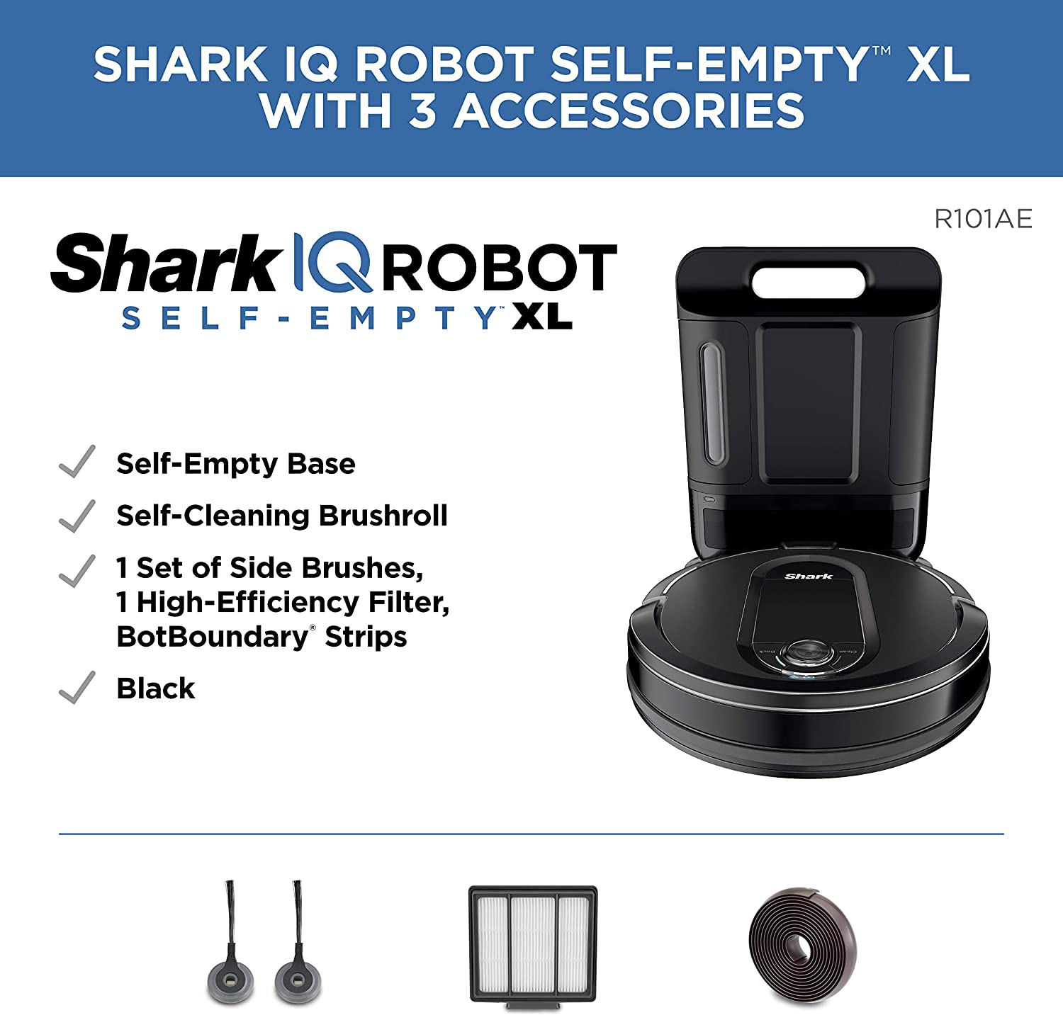 Shark IQ Robot Self-Empty XL RV1001AE, Robotic Vacuum, IQ Navigation, Home Mapping, Self-Cleaning Brushroll, Wi-Fi Connected, Works with Alexa -
