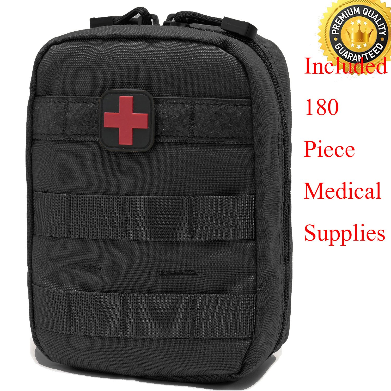 Carlebben EMT Pouch MOLLE Ifak Pouch Tactical MOLLE Medical First Aid Kit Utility Pouch (with Medical Supplies)