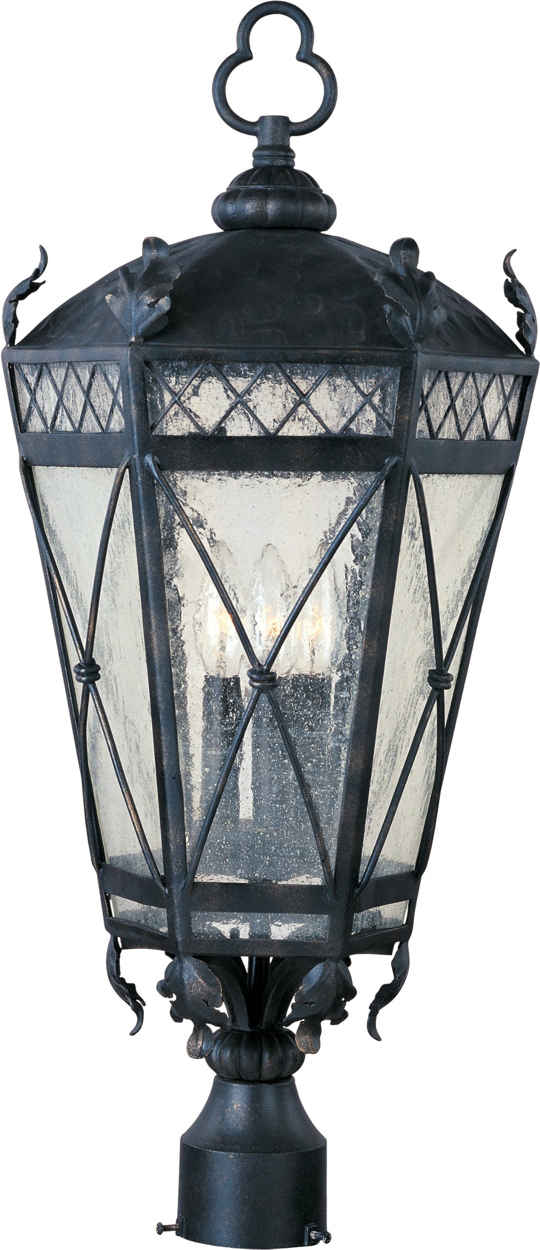 Maxim 30451CDAT Canterbury 3-Light Outdoor Pole/Post Lantern, Artesian Bronze Finish, Seedy Glass, CA Incandescent Incandescent Bulb , 40W Max., Dry Safety Rating, Standard Dimmable, Fabric Shade Material, 5760 Rated Lumens