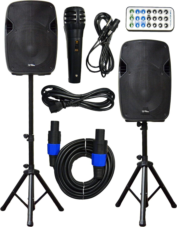 "2x Ignite Pro 12"" Pro Series Speaker DJ / PA System / Bluetooth Connectivity 2000W (12"")"