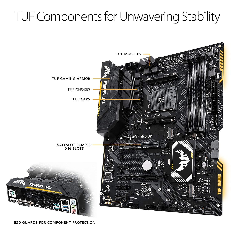 ASUS TUF X470-Plus Gaming AMD Ryzen 2 AM4 DDR4 HDMI DVI M 2 ATX Motherboard