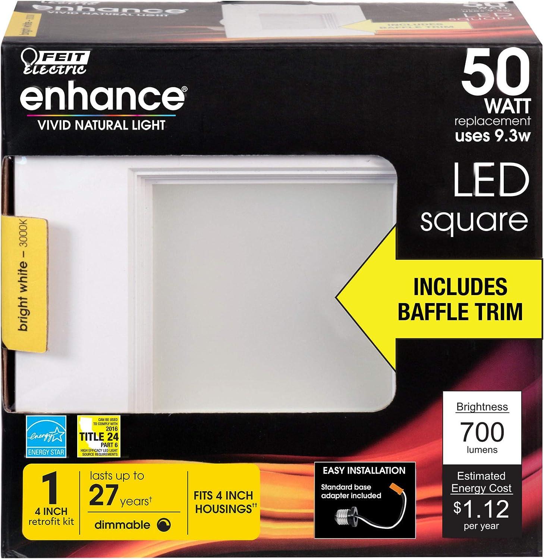700 Lumen Feit Electric LED 4 Sqaure Design 50 Watt Equivalent 3000K Pack of 16 Retrofit Kit