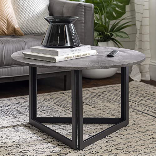 Walker Edison Modern Round Metal Base Coffee Table Living Room Accent Ottoman
