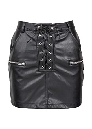 d1a6b666e8 Womens Black Faux Leather Mini Skirt with Zipper Detailing and Front Lacing  – Size Small