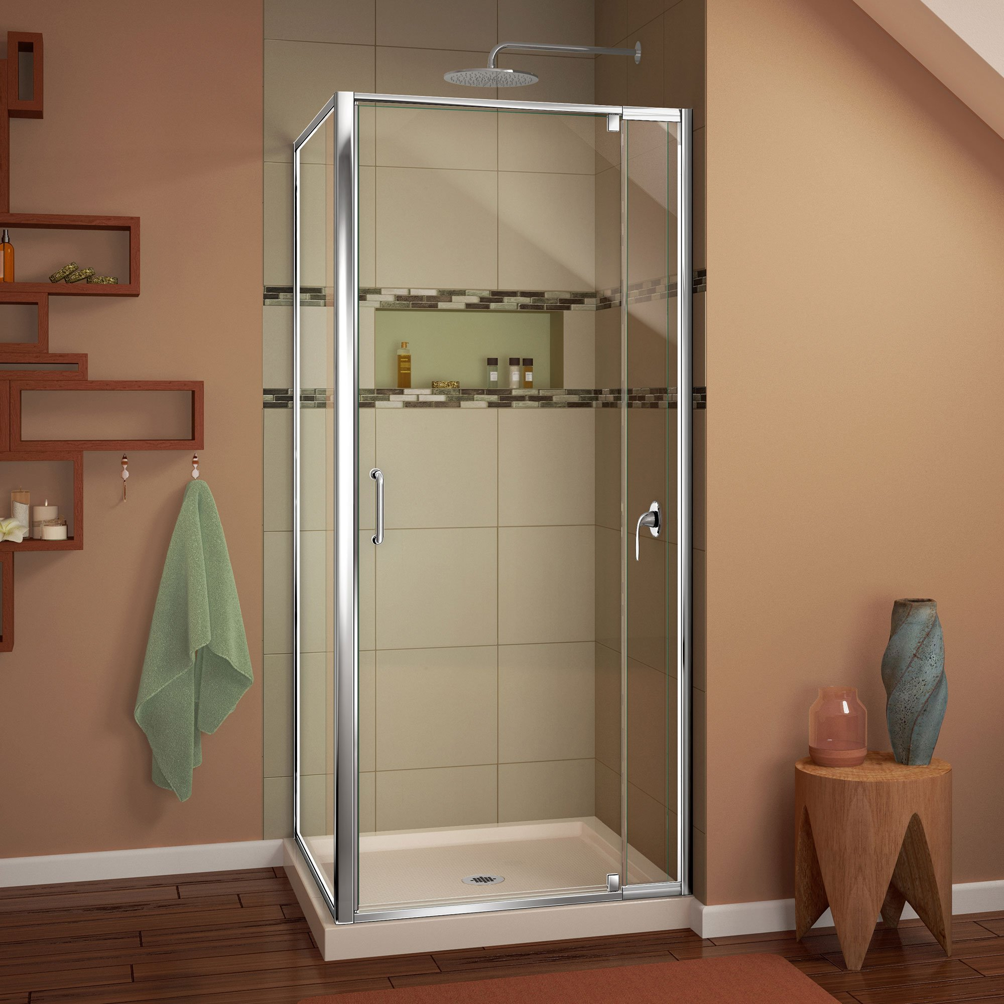 DreamLine DL-6714-22-01CL Flex 32'' W x 32'' D x 74-3/4'' H Frameless Shower Enclosure and Biscuit Shower Base with Chrome Finish Hardware