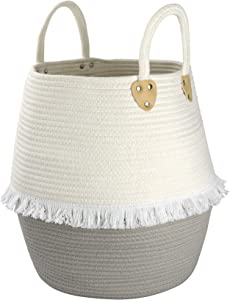 """LA JOLIE MUSE Large Cotton Rope Basket with Tassels, Woven Laundry Basket for Yoga Mat Pillow Blanket Storage, Soft Basket Organizer for Baby Kids Nursery, 16""""15""""12"""", Off White & Gray"""