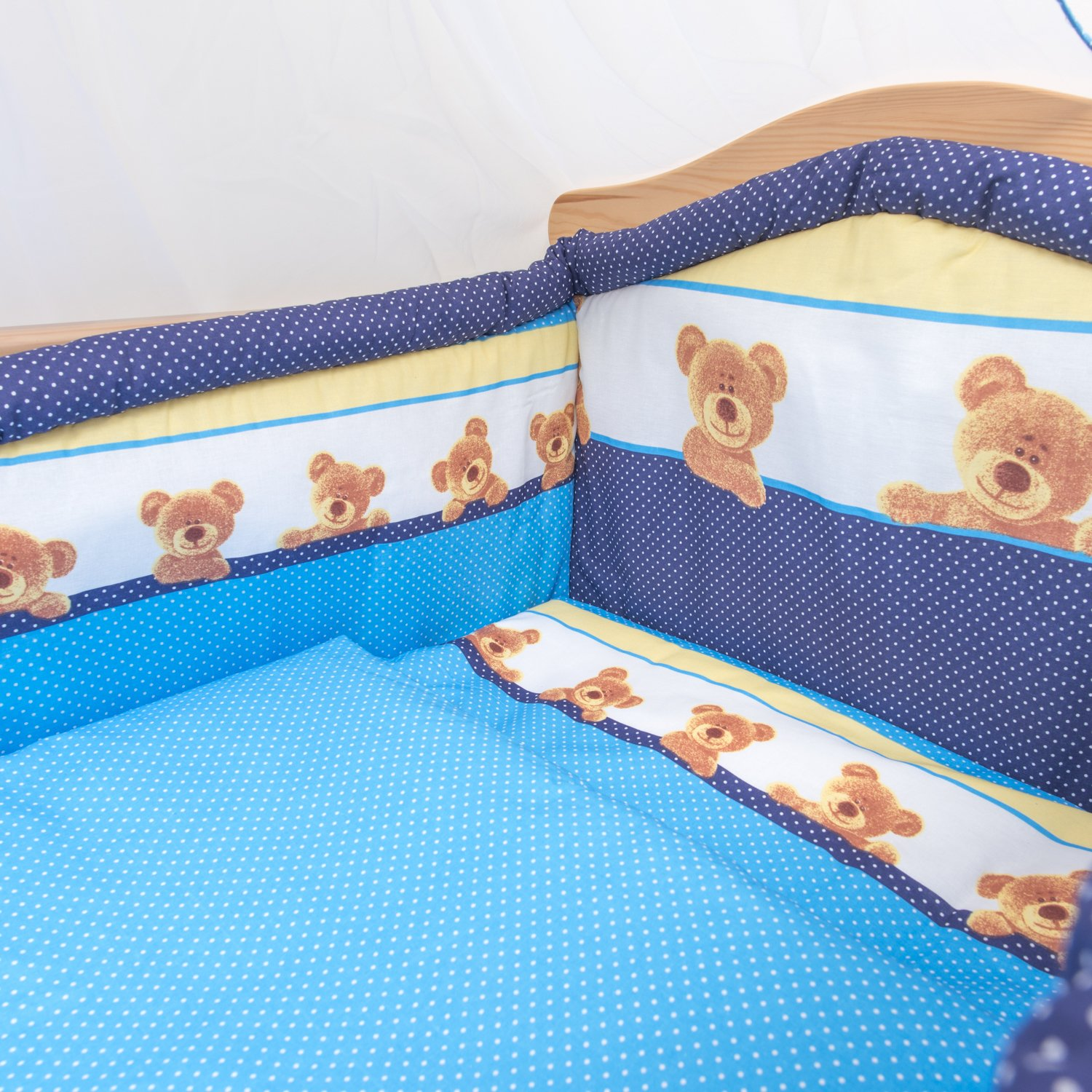 Fits Cot 120x60 cm, Pattern 7 10 Piece Cot Bedding Set with Safety Padded Bumper