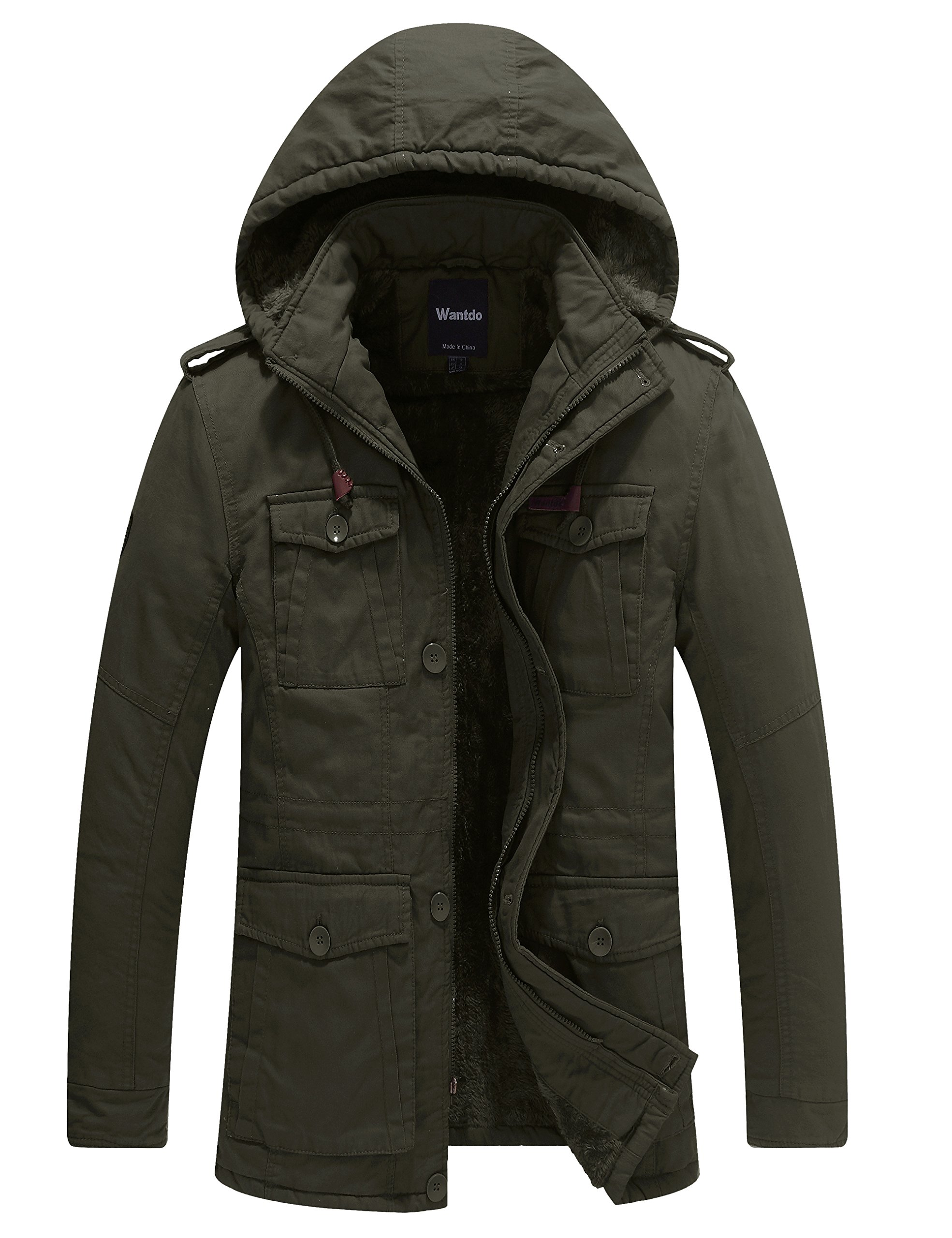 Wantdo Men's Winter Thicken Outwear Coat With Removable Hood (Army Green, Large)