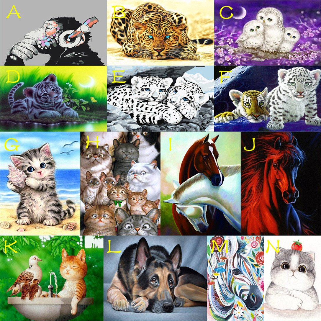 5D Diamond Painting, Lavany Animal Cat Owl Tiger 5D DIY Diamond Painting by Number Kits Rhinestone Pasted Embroidery Home Decor, Cross Stitch Stamped Kits (L)