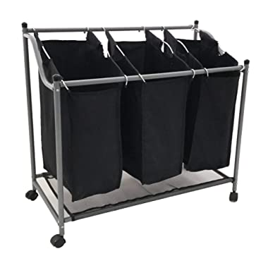 SHAREWIN 3-Bag Laundry Hamper Sorter Cart with Heavy Duty Rolling Wheels for Clothes Storage, Black