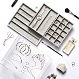 Beautify Acrylic Jewelry & Cosmetic Organizer Box with 3 Storage Trays & Gray Suede Dividers - Clear (Gray)