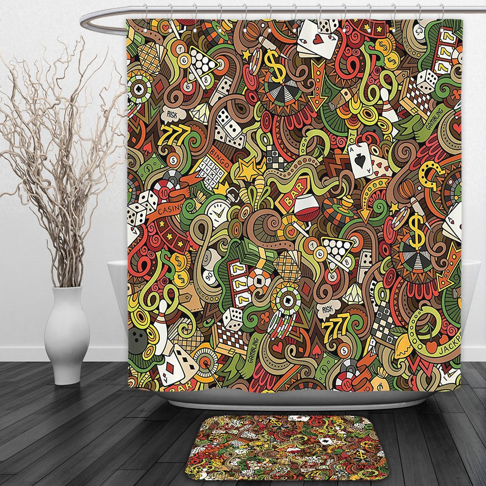 Vipsung Shower Curtain And Ground MatCasinos Doodles Style Art Bingo Excitement Checkers King Tambourine VegasShower Curtain Set with Bath Mats Rugs by vipsung