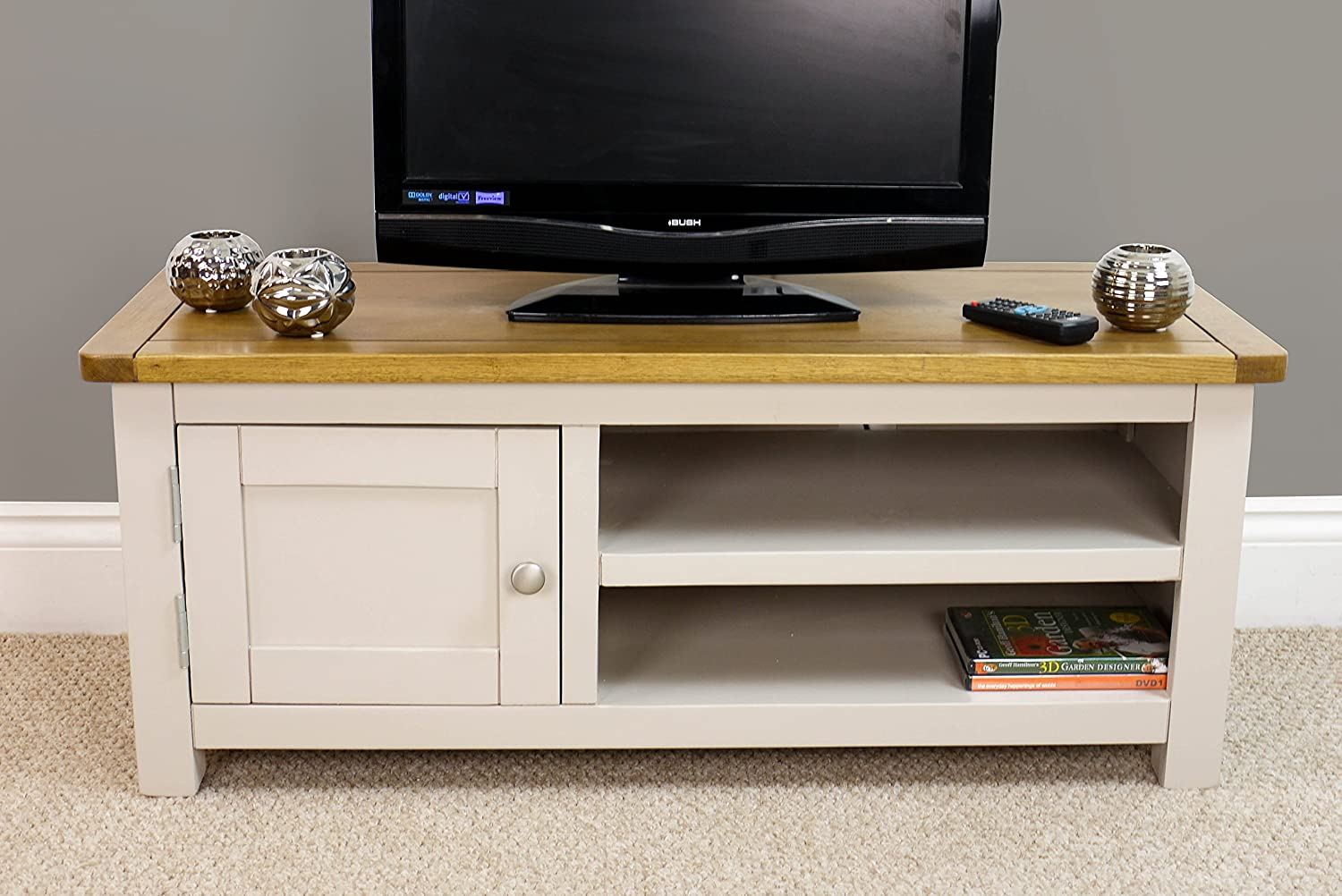 Wellington Painted Oak Grey Small Tv Unit Oak Tv Stand With  # Meuble Tv Hifi But