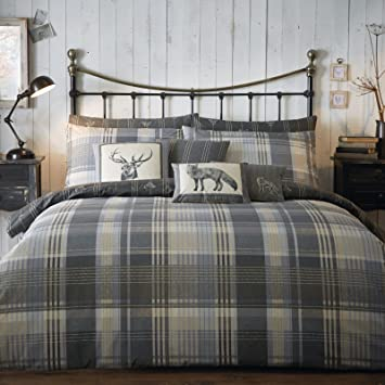Superb Just Contempo Brushed Cotton Tartan Duvet Cover Set, King, Grey:  Amazon.co.uk: Kitchen U0026 Home