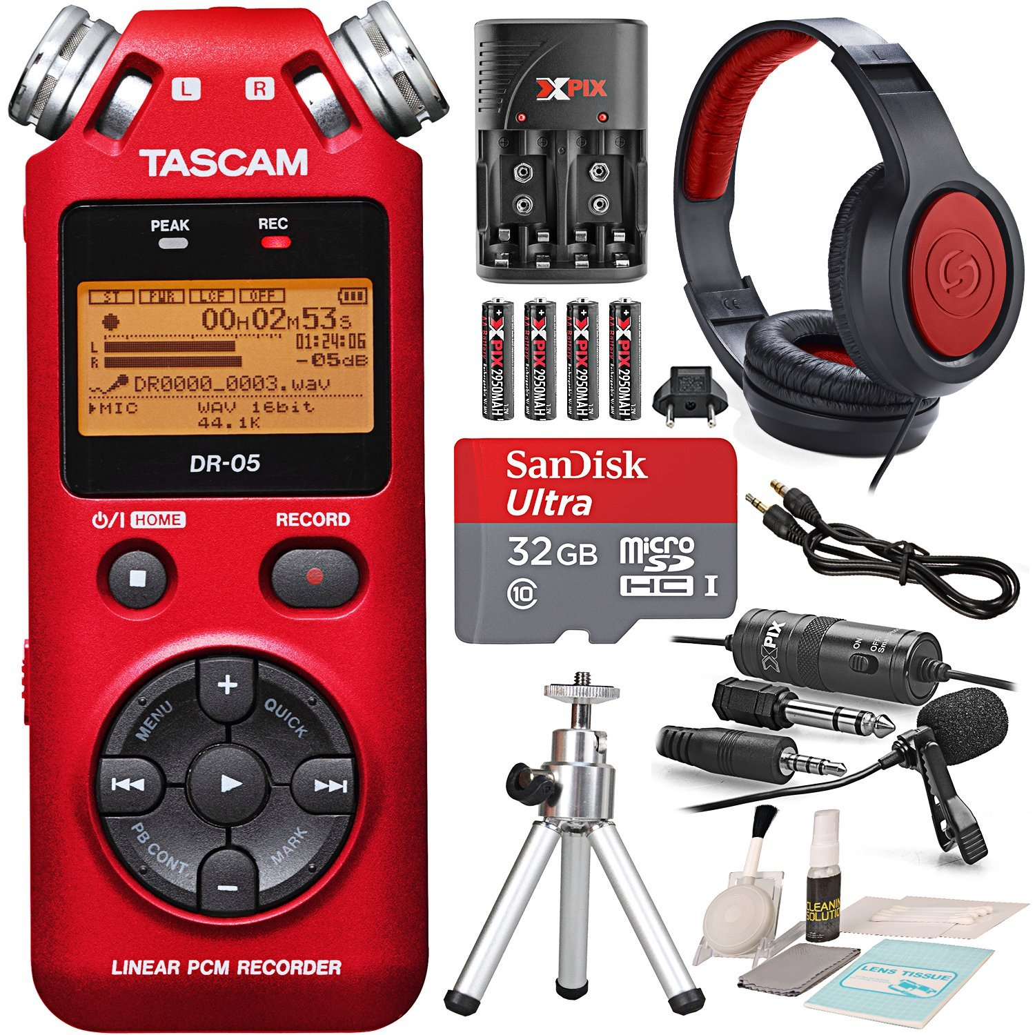 Tascam DR-05 (Version 2) Portable Handheld Digital Audio Recorder (Red) with Platnium accessory bundle Photo Savings PS-DR-05RED