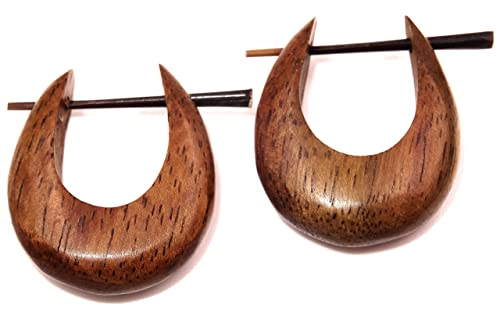 BALI PAPAYA Falso Dilatador Madera Pendientes Piercing Hombre Mujer Wooden Fake Expander Gauge Wood Earring Earrings Fake par Espiral marrón aro: Amazon.es: ...