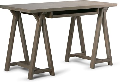 SIMPLIHOME Sawhorse SOLID WOOD Modern Industrial 50 inch Wide Home Office Desk