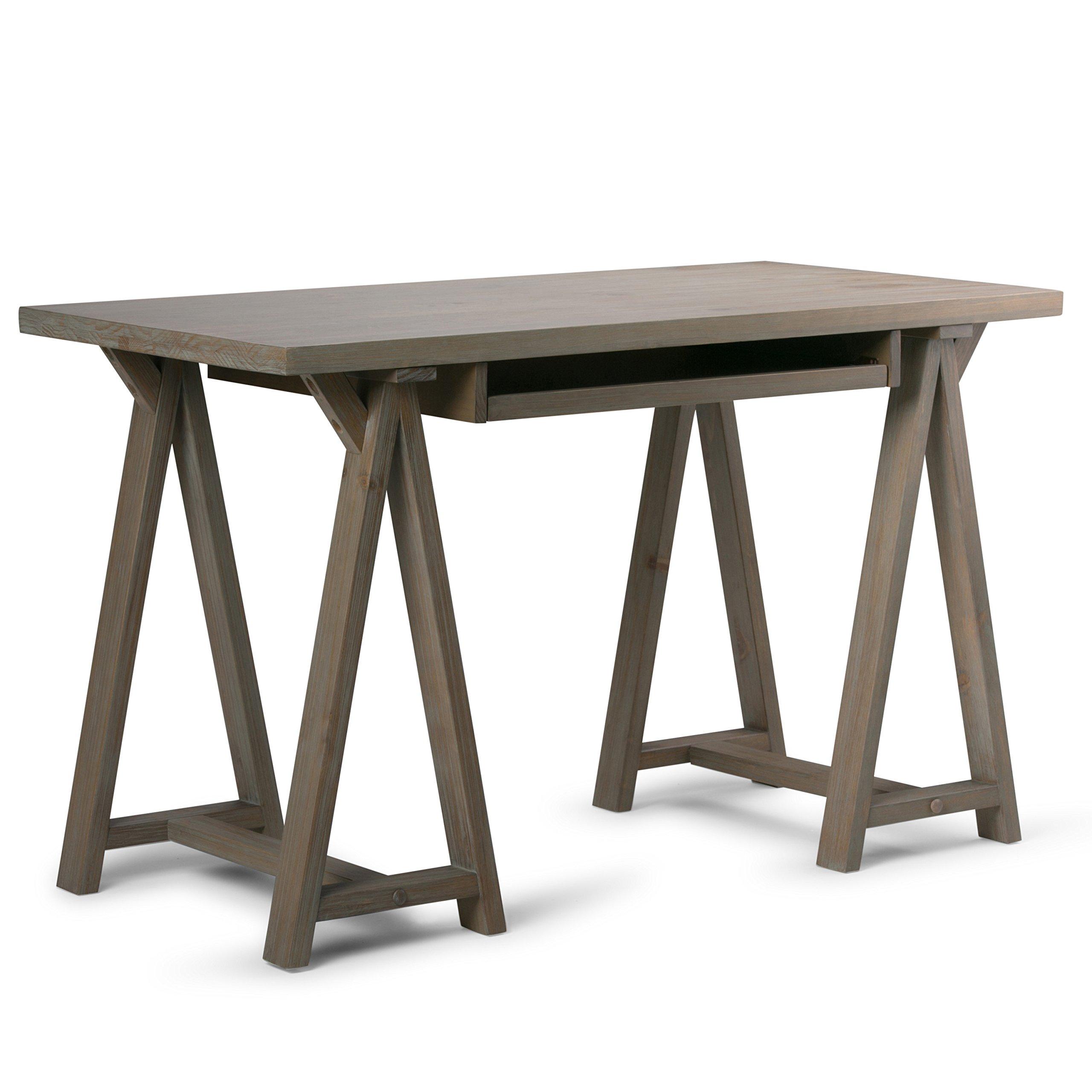 Simpli Home Sawhorse Solid Wood Small Desk, Distressed Grey
