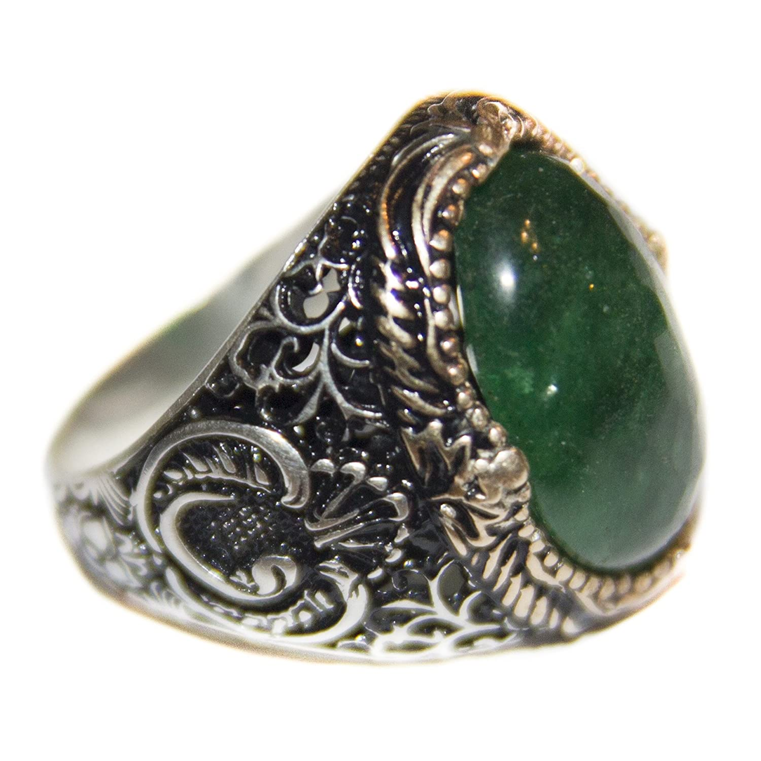 Falcon Jewelry Men's sterling silver ring, natural emerald stone, handmade, Express Shipping
