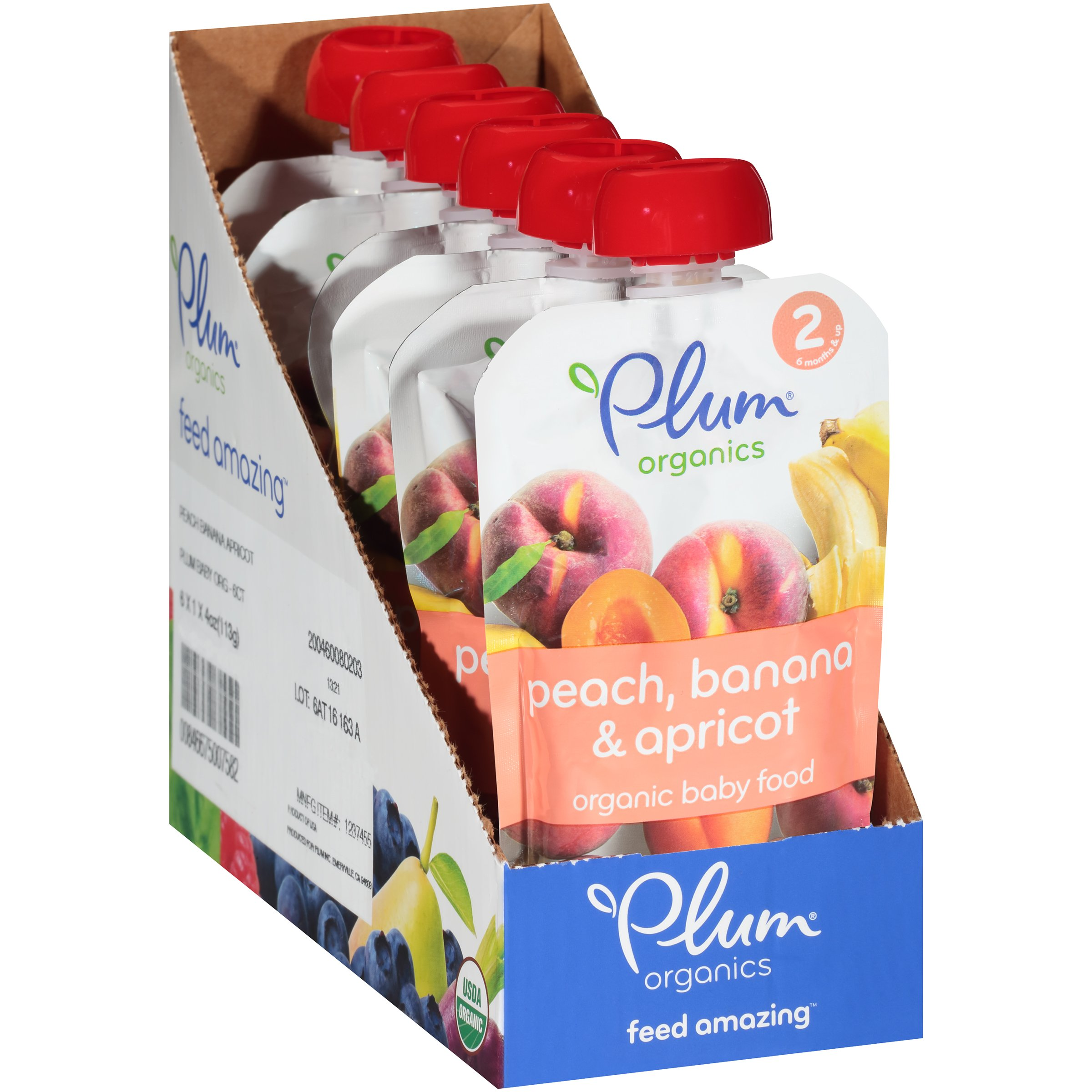 Plum Organics Baby Stage 2 Food, Peach, Banana and Apricot, 4 Ounce (Pack of 6)