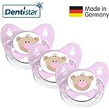 Dentistar® Silikon Schnuller 3er Set - Beruhigungssauger, Nuckel Größe 1 von Geburt an, 0-6 Monate - zahnfreundlich & kiefergerecht   Rosa Bär