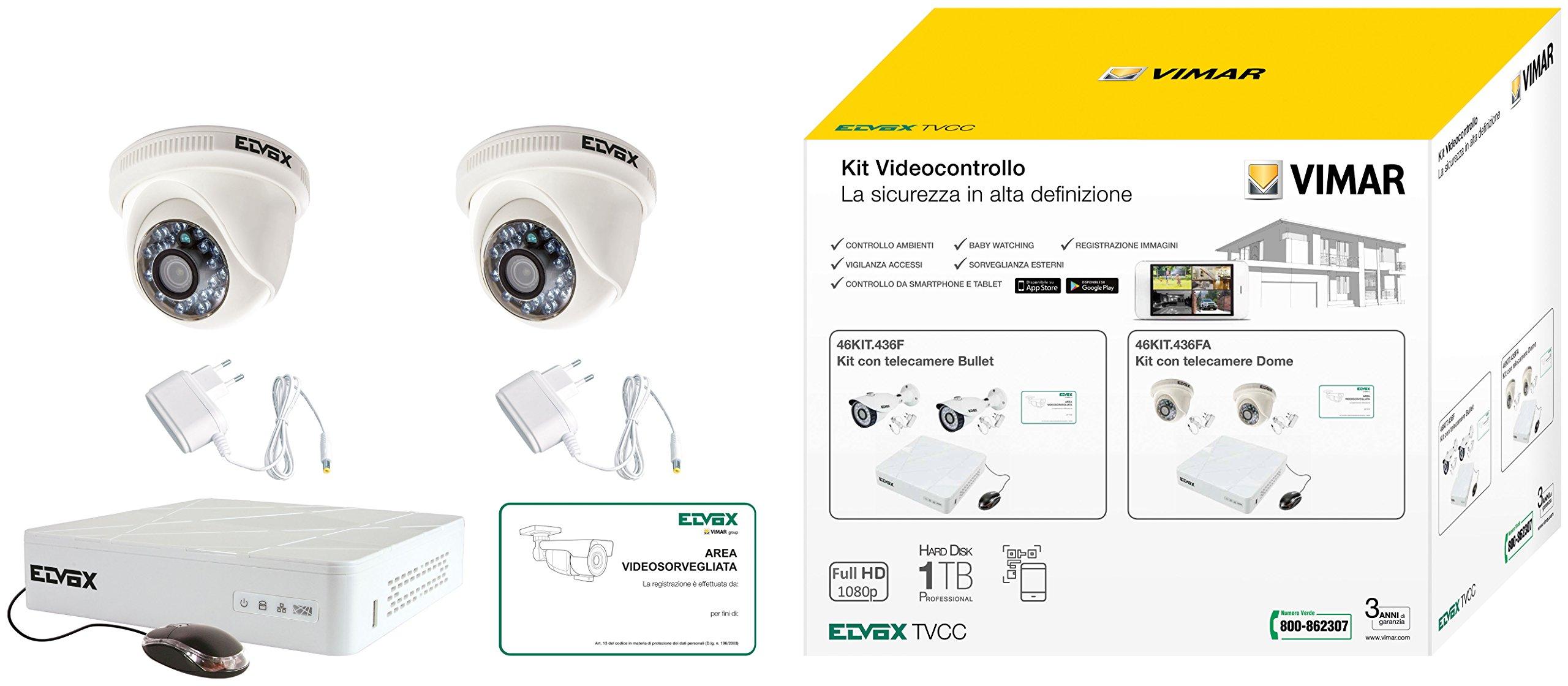 Vimar 46KIT.436FA AHD 1080p 4-Channel Dome FF CCTV Kit by VIMAR