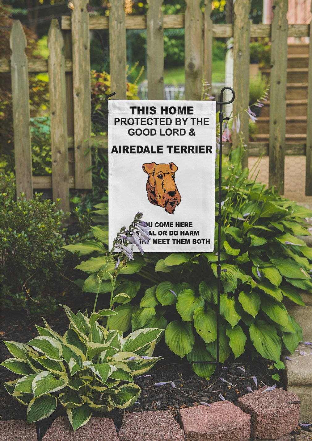 Home protected Good Lord AIREDALE TERRIER DOG Meet Both Yard House Garden Flag Flag Only 10 1/2'' x 16''