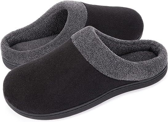 Amazon.com | HomeIdeas Men's House Woolen Fabric Memory Foam Anti-Slip  Slippers, Cozy Bedroom Indoor Slip on Shoes | Slippers
