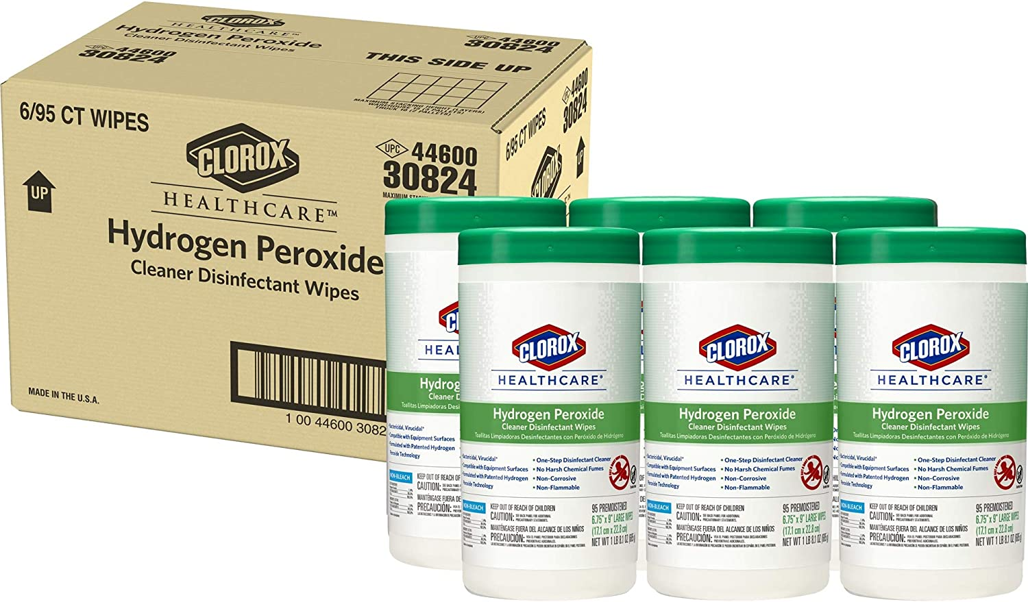 Clorox Healthcare Hydrogen Peroxide Cleaner Disinfectant Wipes, 95 Count Canister - Pack of 6 (30824)