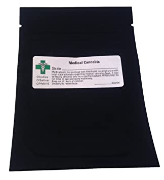100 Smell Proof Bags (w/ GREEN CROSS LABEL) Marijuana Cannabis - 3 1
