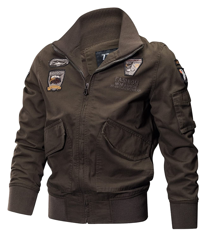 39be33a59ec4 80%OFF YYZYY Homme Classique Rétro Cotton patches Flight Jacket Veste  Bomber Militaire Blousons Automne