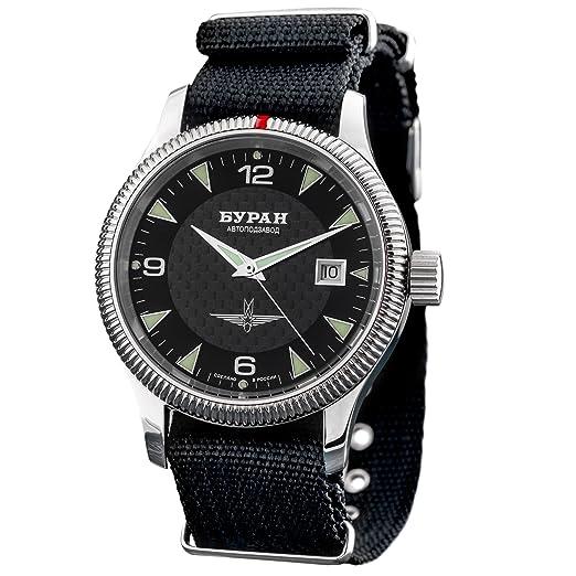 Automatic BURAN policarboxílicos - 2824/6503720 - Reloj de aviador - correa de la OTAN: Amazon.es: Relojes