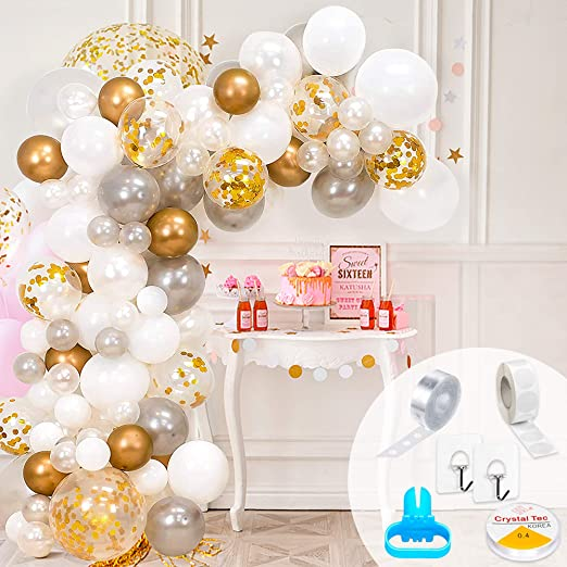 Balloon Arch Kit – 100pcs, 16FT Balloon Garland Kit (Gold White ...